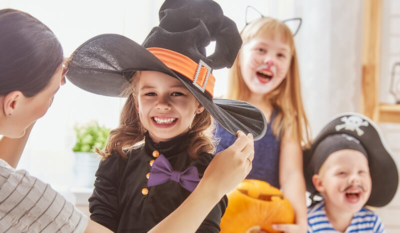 Young children dressed up for Halloween, RESP